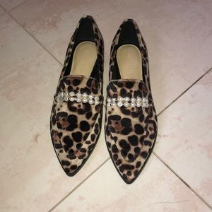Marc Fisher pointy toe cheetah flat with pearls